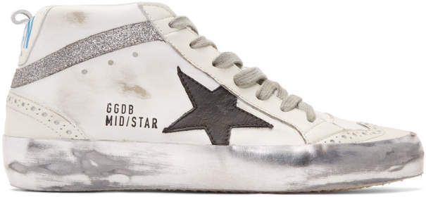 Golden Goose White Glitter Mid Star Sneakers