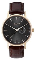 Gant Park Hill II Men's Quartz Watch with Black Dial Analogue Display and Brown Leather Strap W108411