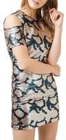 Topshop Women's Cold Shoulder Sequin Dress