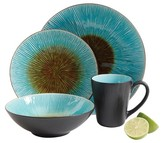 Gibson Select Shangri-La Court Dinnerware 16-pc. Set - Turquoise/Black