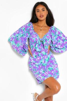boohoo Floral Print Volume Sleeve Dress