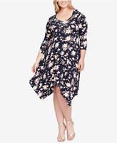 Jessica Simpson Trendy Plus Size Kaelin Handkerchief-Hem Dress