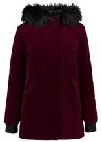 George Velvet Hooded Coat With Faux Fur Trim
