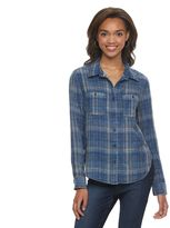 Mudd Juniors' Plaid Button-Front Shirt