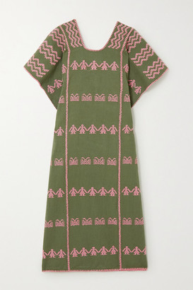Pippa Holt - + Net Sustain Embroidered Cotton Kaftan - Army green