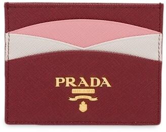 Prada colour block Saffiano card holder
