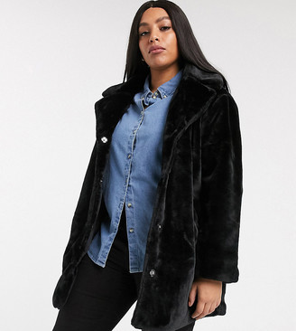 Brave Soul Plus tamsin faux fur jacket-Black