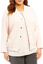 Vince Camuto Plus Snap Front Blistered Texture Bomber Jacket