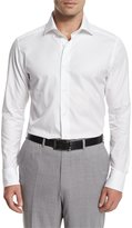 Ermenegildo Zegna Solid Long-Sleeve Sport Shirt, White
