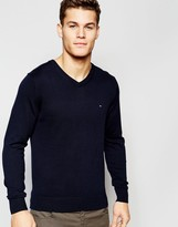 Tommy Hilfiger V Neck Jumper In Navy