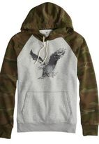 American Eagle Outfitters Heather Grey Factory Signature Hooded Pop Over, Mens XS