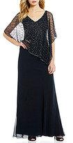 J Kara Beaded V-Neck Cap Sleeve Popover Chiffon Gown