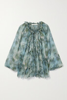 Thumbnail for your product : Jason Wu Collection Ruffled Floral-print Silk-chiffon Blouse - Blue