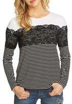 CeCe Striped Lace Yoke Sweater
