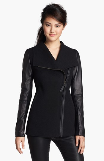 Mackage Asymmetrical Zip Mixed Media Coat