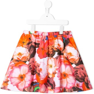 Msgm Kids floral-print A-line skirt