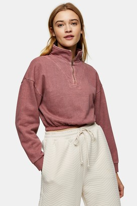 Topshop PETITE Pink Acid Wash Zip Neck Funnel Neck Sweatshirt