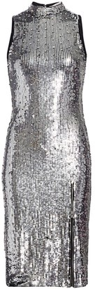 Alice + Olivia Malika Embellished Sequin Mockneck Dress