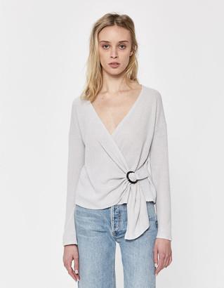 Mae Stelen Women's Long Sleeve Top in Light Grey, Size Small | Spandex