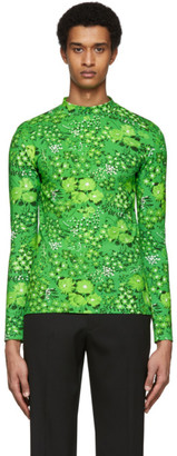 Balenciaga Green Stretch Flowers T-Shirt