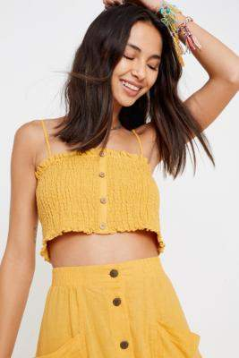 Urban Outfitters Bebby Yellow Button-Through Crop Cami - yellow M at