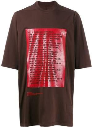 Rick Owens poem print T-shirt