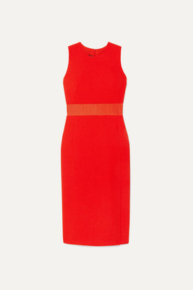 Akris Horse Hair Blend-trimmed Wool-crepe Midi Dress - Red