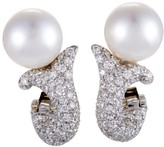 Mikimoto 18K White Gold Diamond Pave and Pearl Earrings