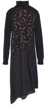 McQ Asymmetric Floral-print Crepe And Cotton-blend Jersey Dress