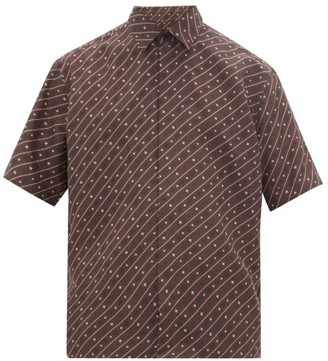 Fendi Karligraphy Short-sleeved Silk Shirt - Mens - Brown