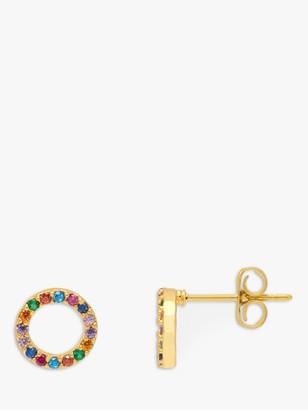 Estella Bartlett Rainbow Cubic Zirconia Circle Stud Earrings, Gold/Multi