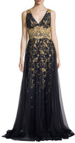 Marchesa Sleeveless Embroidered Floral Tulle Gown, Navy