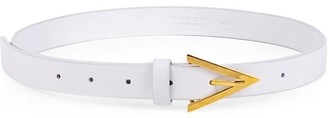 Bottega Veneta Triangular Buckle Skinny Leather Belt