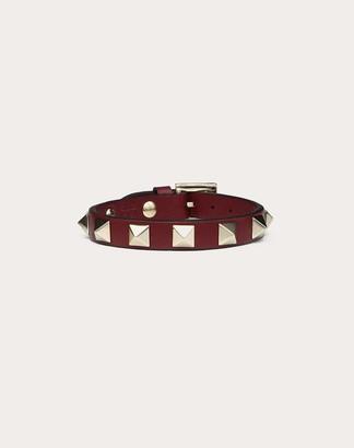 Valentino Rockstud Calfskin Bracelet Women Cherry 100% Pelle Di Vitello - Bos Taurus OneSize