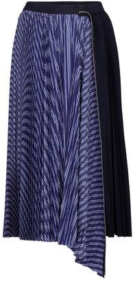 Sacai Striped cotton-poplin midi skirt