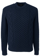 Classic Men's Cashmere Aran Crew Sweater Navy