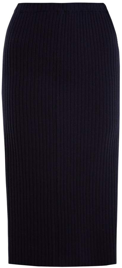 Allude Ribbed-knit cashmere pencil skirt