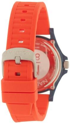 Nautica Men's Silver Dial Silicone Watch, 40mm