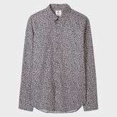 Paul Smith Men's Slim-Fit Black 'Etched Floral' Print Cotton Shirt