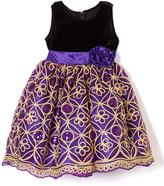 Purple & Gold Sequin A-Line Dress - Infant Toddler & Girls