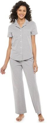 Croft & Barrow Petite Short Sleeve Notch Collar Pajama Set