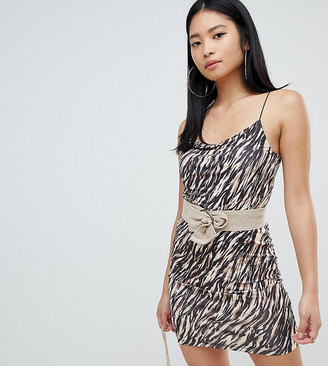 ASOS DESIGN Petite animal print mini dress with belt