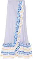 Lemlem Mwali Convertible Gauze-trimmed Striped Cotton-blend Dress - Light blue