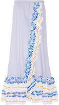 Lemlem Mwali Convertible Gauze-trimmed Striped Cotton-blend Dress - medium