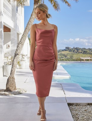 Forever New Laura Satin Cowl-Neck Ruched Midi Dress - Rose Rust - 12