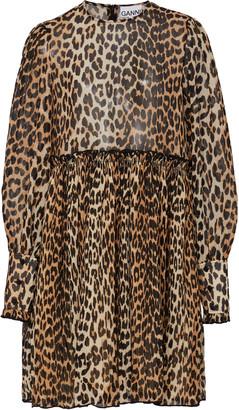 Ganni Leopard-Print Georgette Mini Dress
