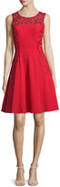 Sue Wong Sleeveless Scroll-Embroidered Dress, Red