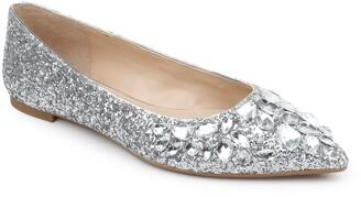 Badgley Mischka Ulanni Embellished Pointed Toe Glitter Flat