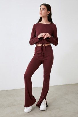 Trendyol Split Leg Tie Top Lounge Co-ord