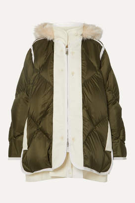 Sacai Layered Faux Fur-trimmed Quilted Ripstop And Wool Down Coat - Army green